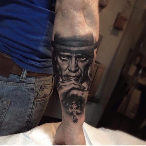 Nucky Thompson was the bootlegging gang leader who ruled Atlantic City, tattoo by Edgar Ivanov