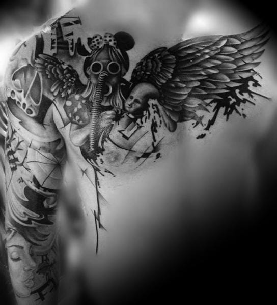 Wings Gas Mask Tattoo by Westfall Tattoo
