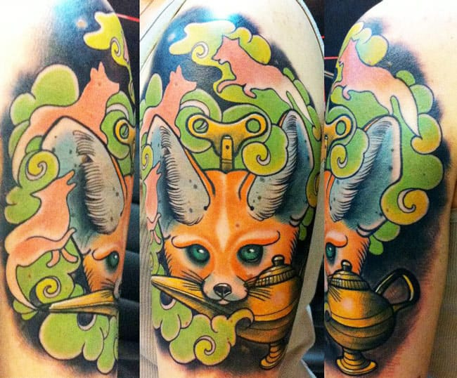 Cute fox tattoo by Bartoz Panas