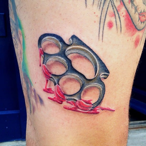 Bloody knuckle duster by Marc Nutley.