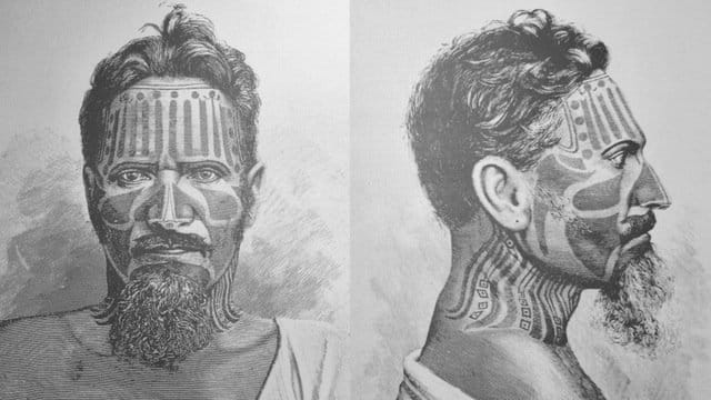 Engravings showing some of the traditional tattoos of the inhabitants of Rapa Nui, made by Swedish ethnographer Hjalmar Stolpe.
