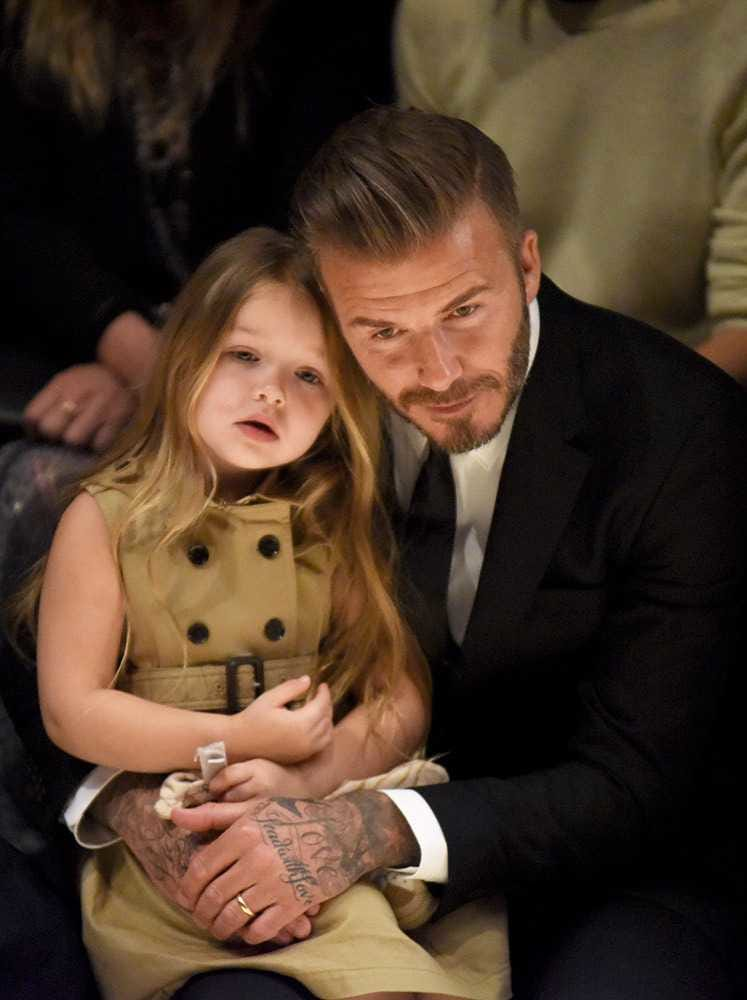 David Beckham with his daughter Harper
