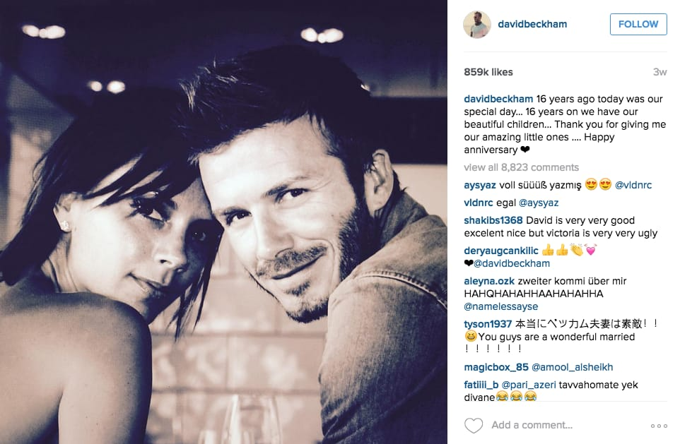 With his wife, Victoria Beckham