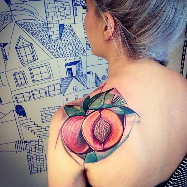 Abstract peach tattoo