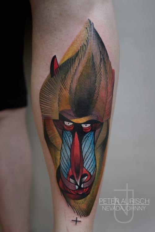 Abstract baboon tattoo