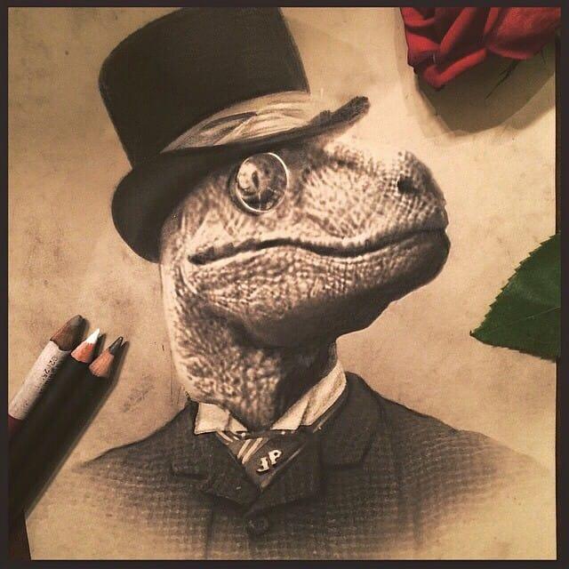 Victorian portrait of a dinosaur