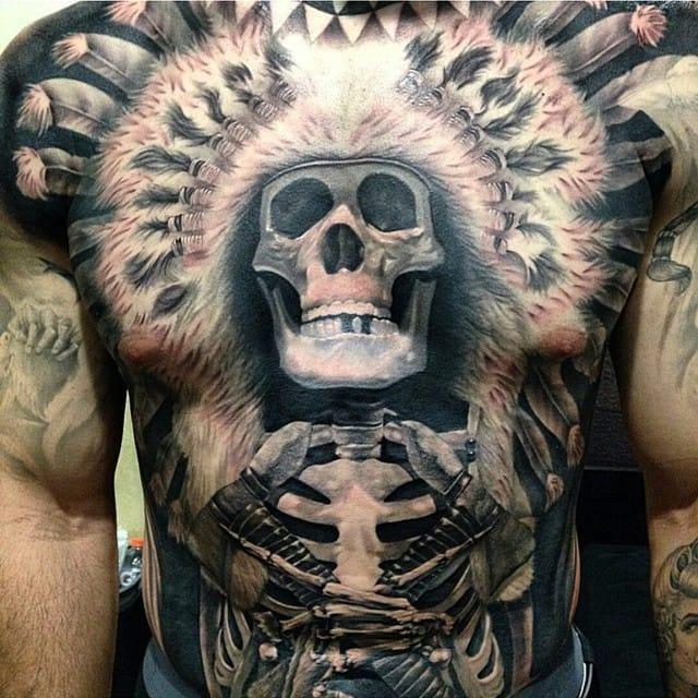 35 Majestic Indian Chiefs Skull Tattoos