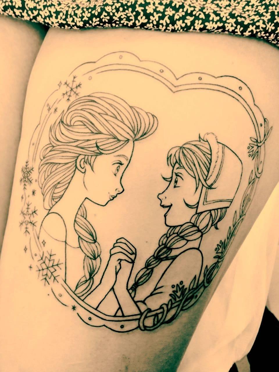 The beginning of a truely fancy frozen tattoo