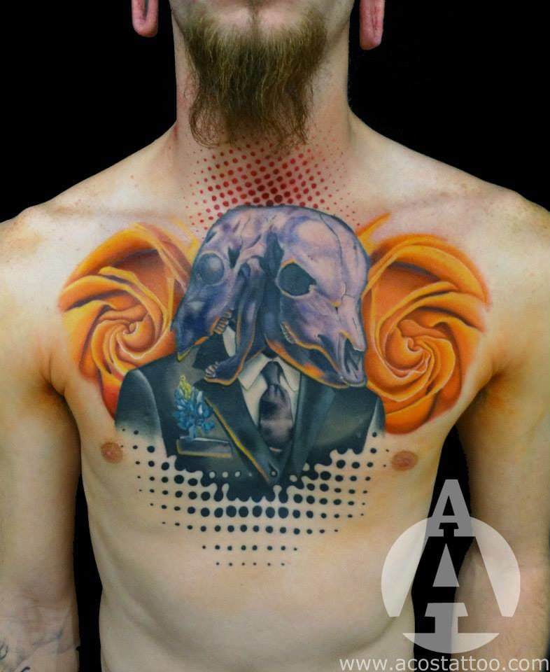 Surreal chest tattoo
