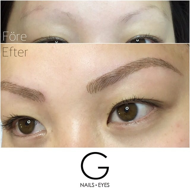 Tattooed eyebrows. Source: G, Nails, Eyes.
