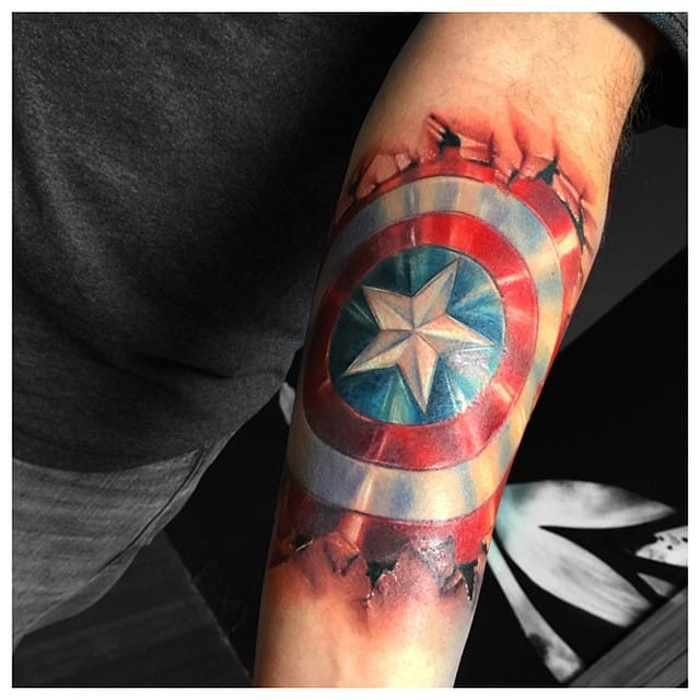And to end the super heroes craze, this Captain America piece by Carolyn Elaine...