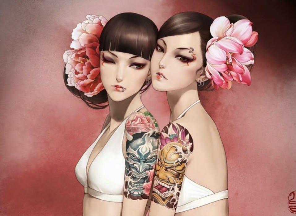 Japanese Hannya masks.