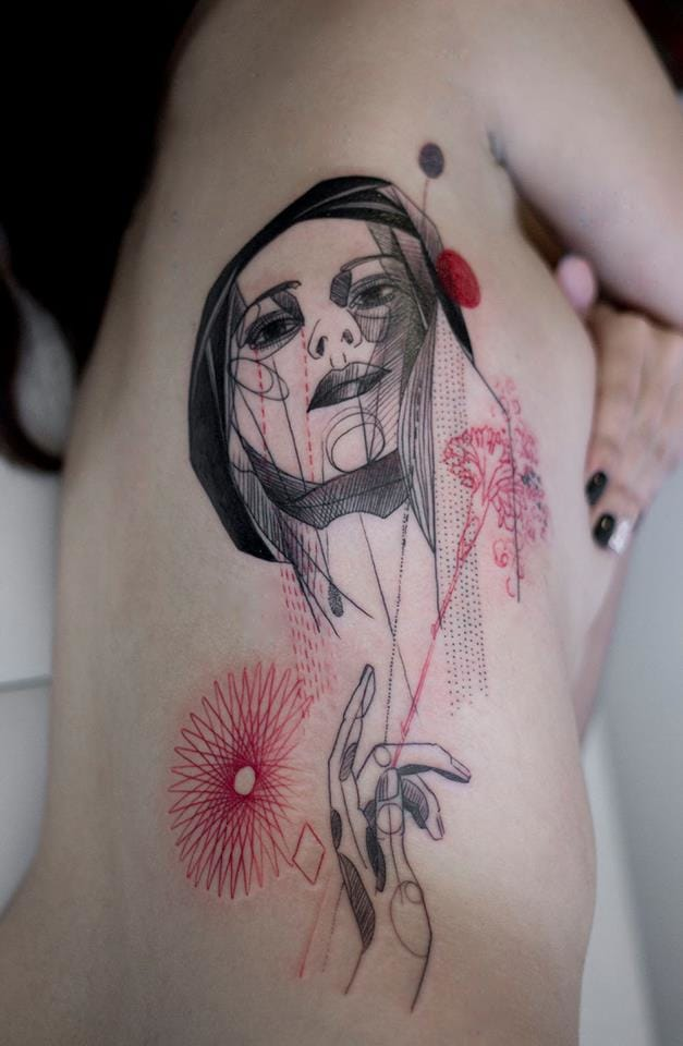 Artistic portrait tattoo