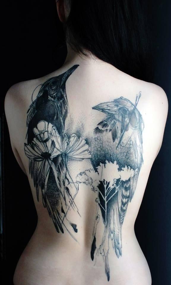 Lovely back tattoo by Marta Lipinski...