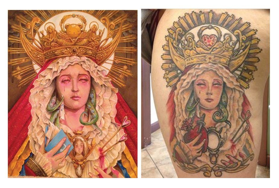 The art of Chiara inspires beautiful tattoos. Here by Mel Perlman.