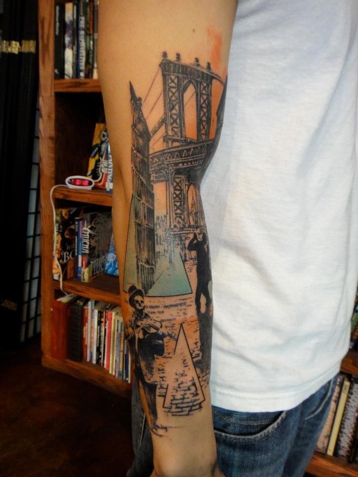 Artistic bridge tattoo