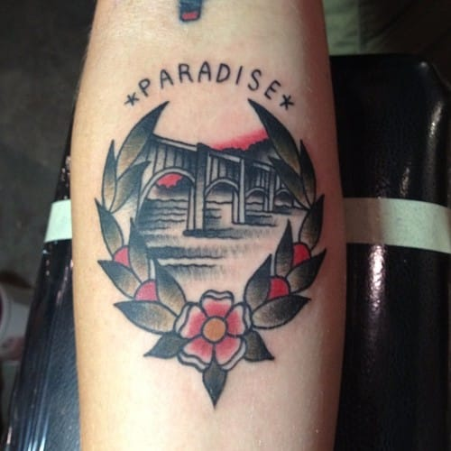 Great little traditional piece by Max Kuhn Tattoo