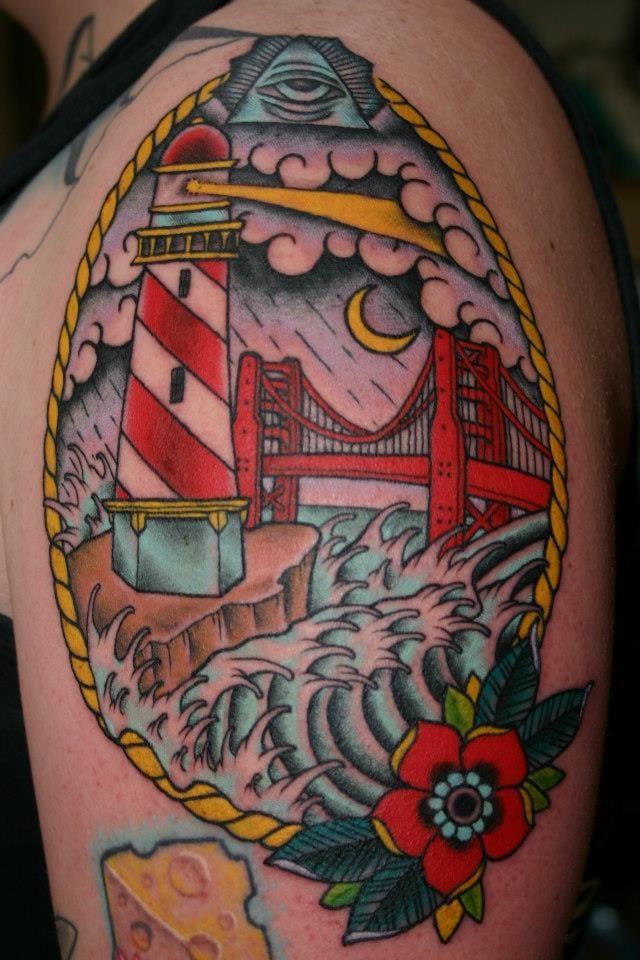 Colorful bridge tattoo