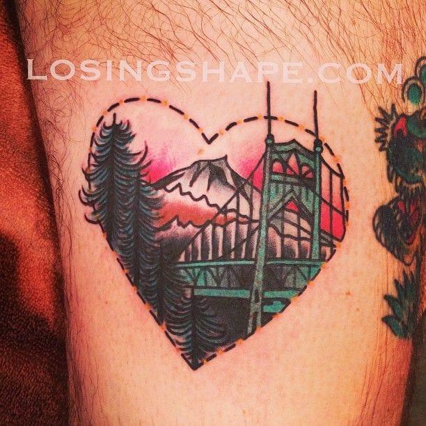 Bridge heart tattoo