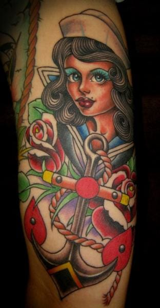 New School Anchor Mariner Tattoo by Salt Water Tattoo