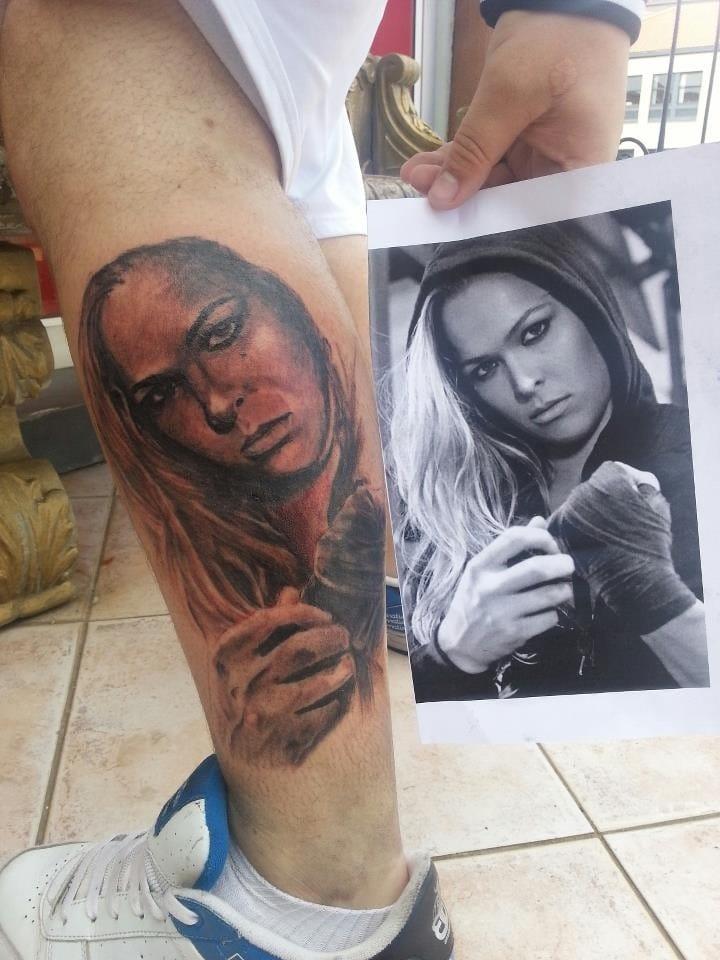 Fan tattoo of Ronda Rousey