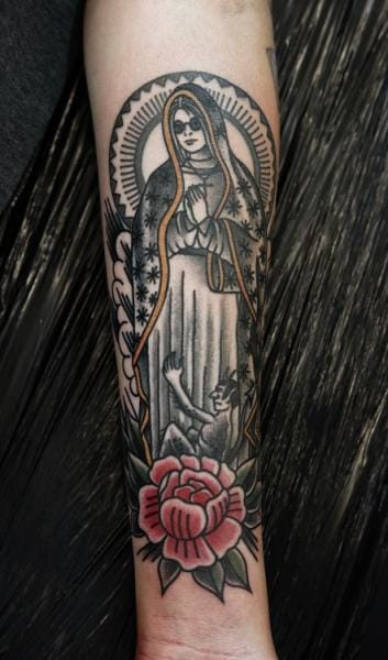 Old School Religious Tattoo by Philip Yarnell