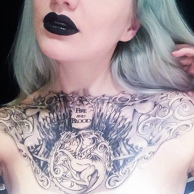 Another great chest tattoo with the Targaryen symbol