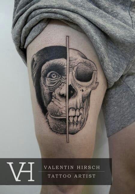 10 cool creepy animal skull tattoos tattoodo for Year of the monkey tattoo