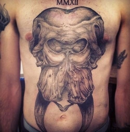 Elephant skull tattoo
