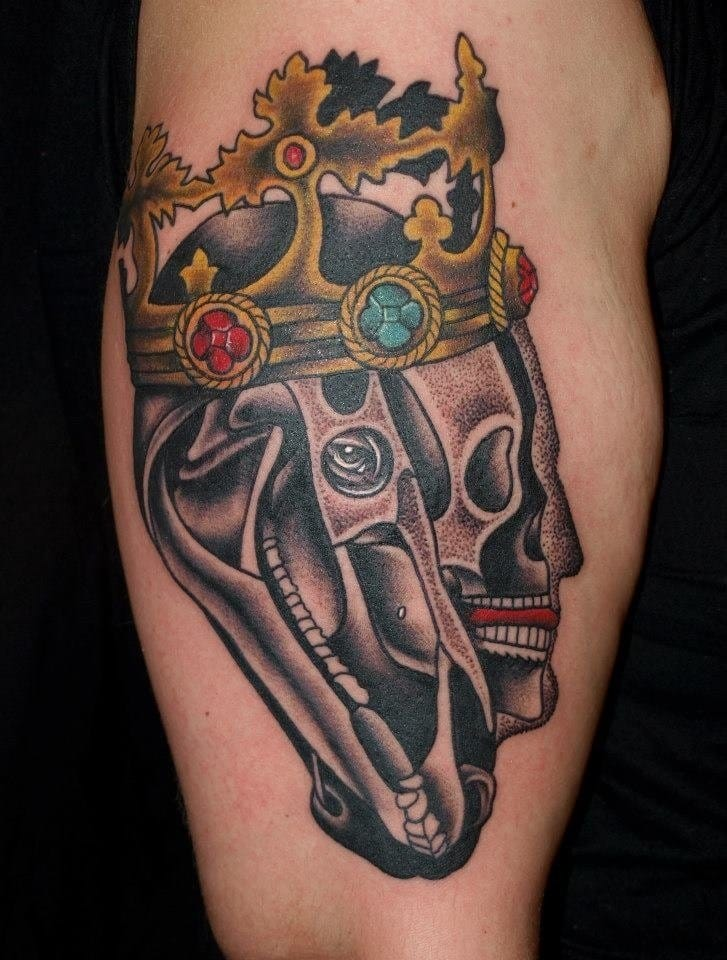 Horse skull tattoo by Pietro Sedda