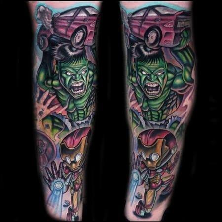 Cartoon sleeve tattoo