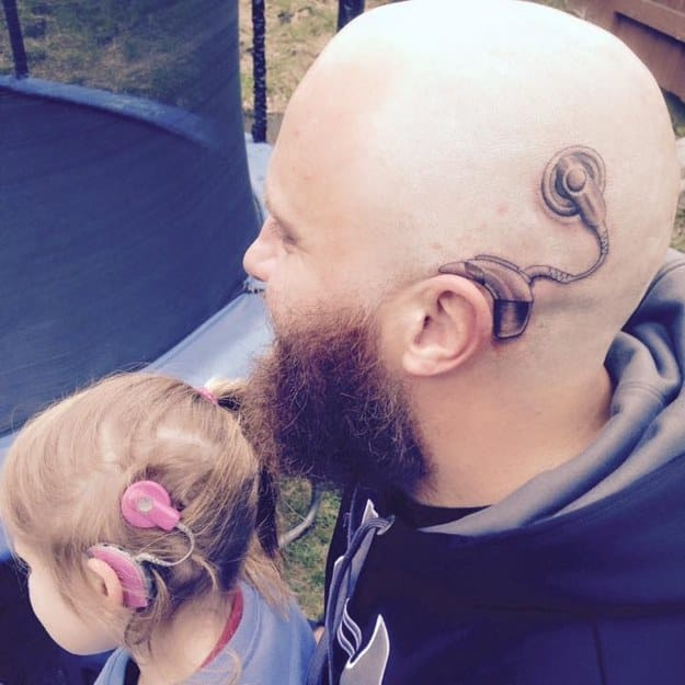 Awesome Dad Gets Tattoo To Match Daughters Cochlear Implant!!
