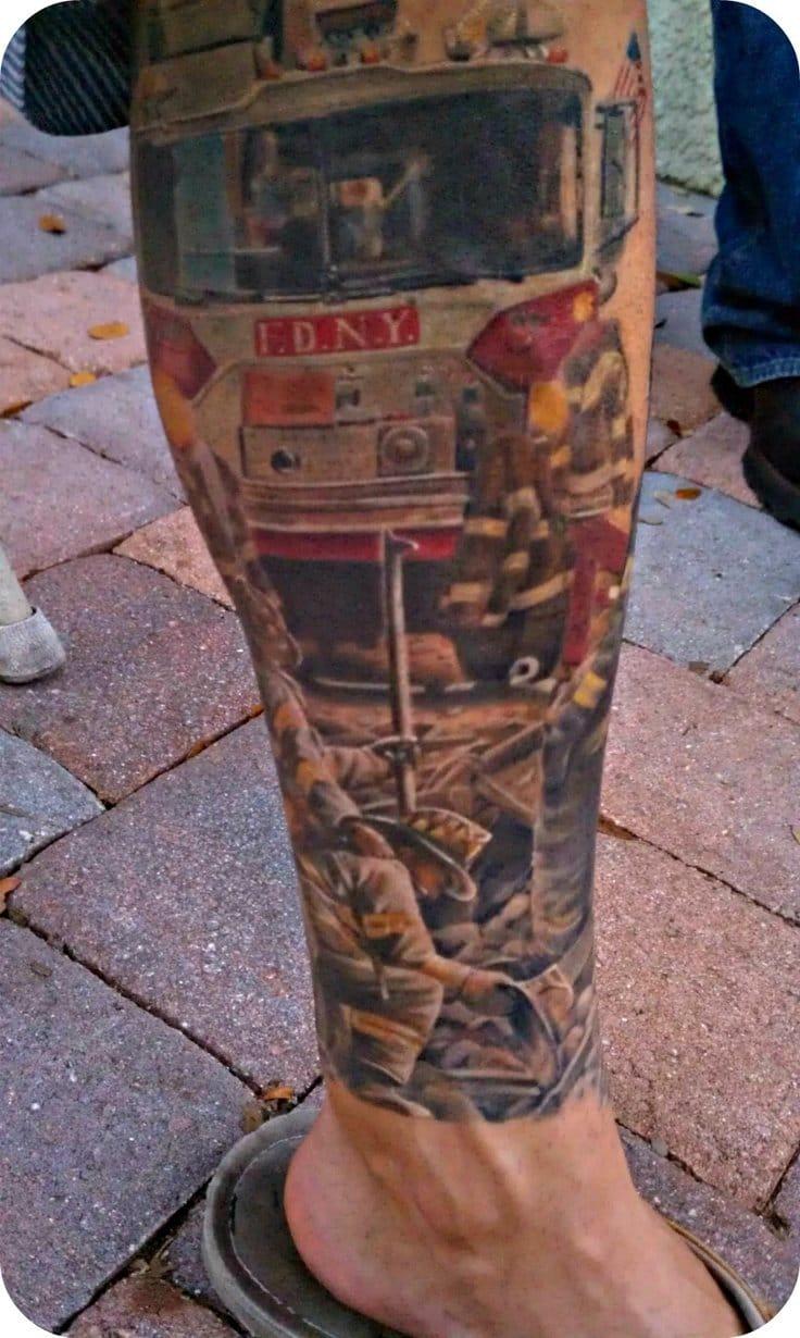 Tatuagem colorida do dia a dia dos Bombeiros (Sabe o nome do artista? Conte para a gente nos comentários)