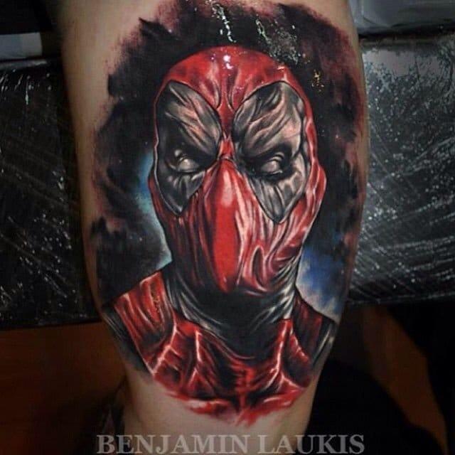 Deadpool tattoo by Benjamin Laukis