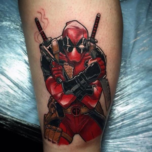 Awesome Deadpool tattoo, artist unknown.