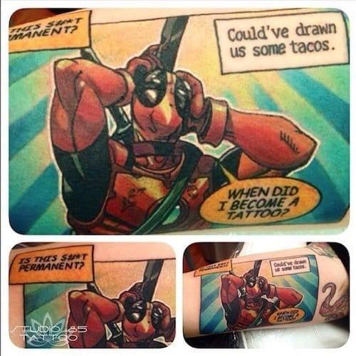 Deadpool comic tattoo