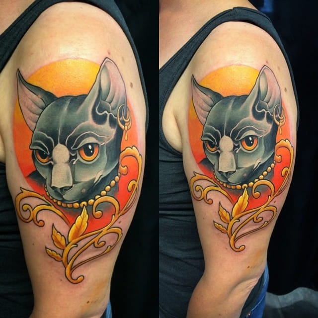 Colorful cat tattoo