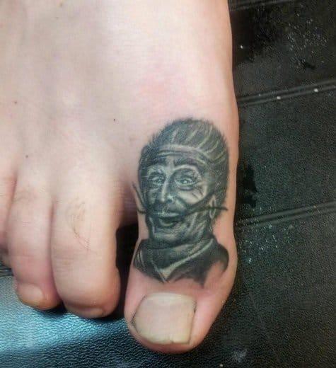 Awesome miniature portrait, Portrait toe tattoo