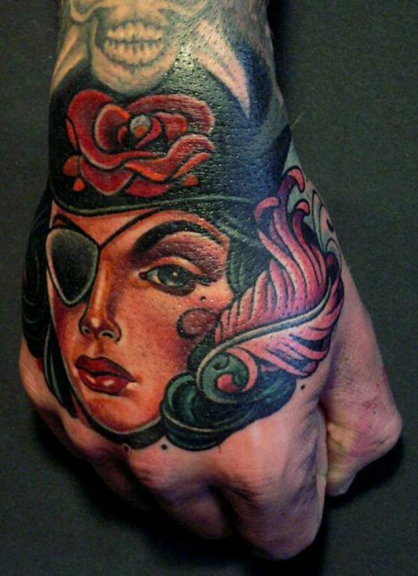 Gorgeous hand tattoo by Lars Uwe.