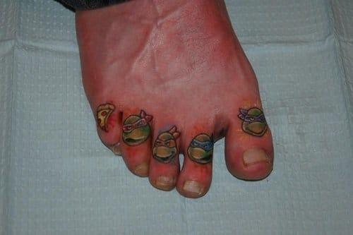 Pizza and ninja turtles animation toe tattoos
