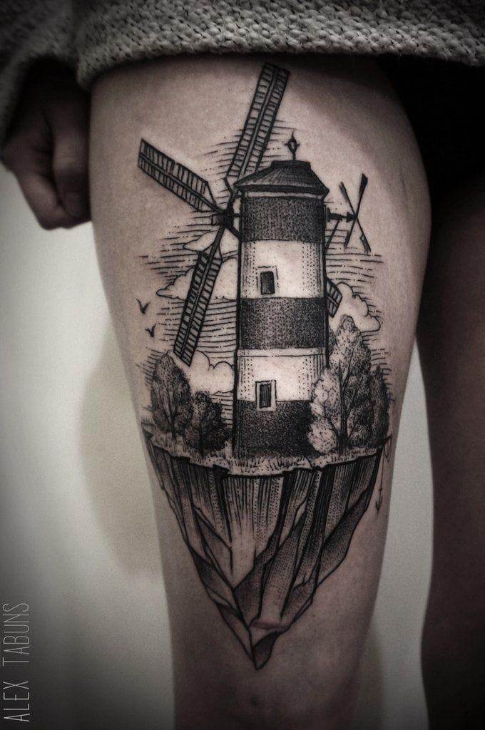 Brilliant black and grey tattoo by Alex Tabuns