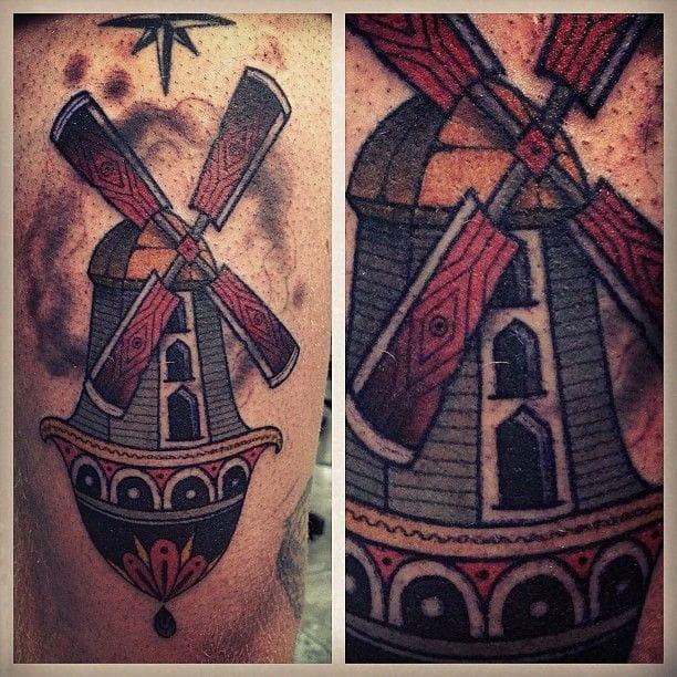 Great Windmill tattoo by Aaron Ashworth