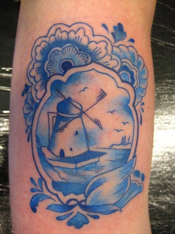 Blue Windmill Tattoo