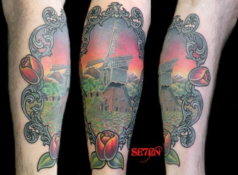 Colorful Windmill Tattoo