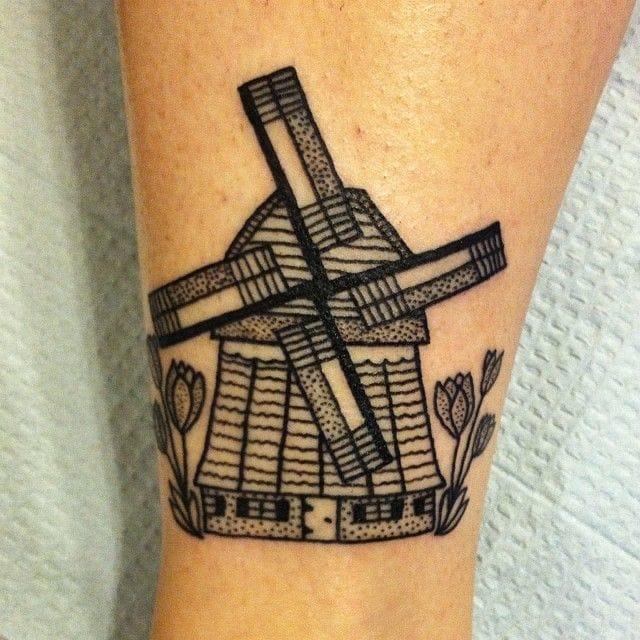 Linework, black and white Windmill Tattoo