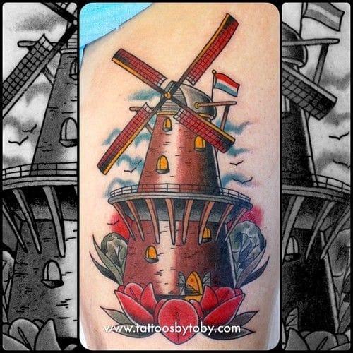 Dutch windmill tattoo by Tattoos By Toby