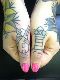 Hand poked tattoos by Gary Burns