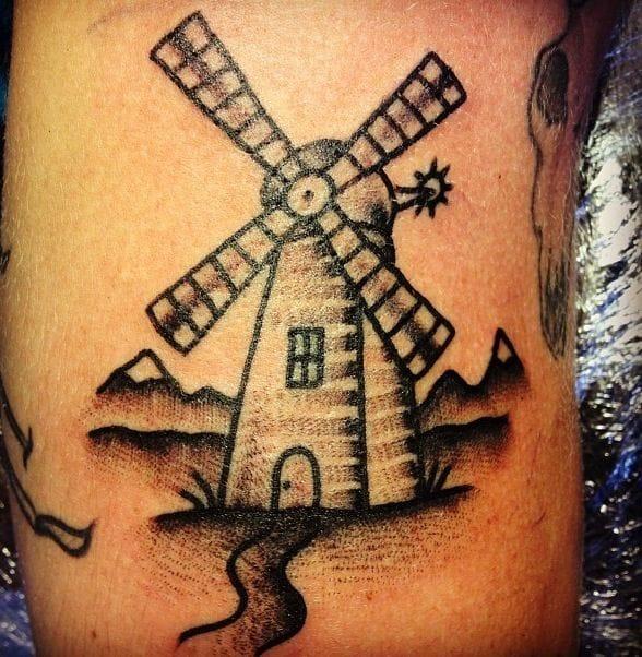 Black and white Windmill Tattoo
