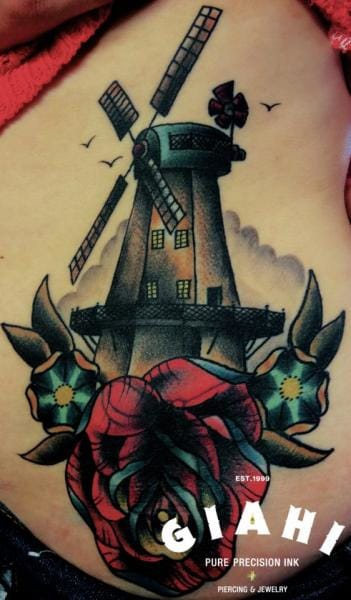 Old School Mill Tattoo by Jack Gallowtree