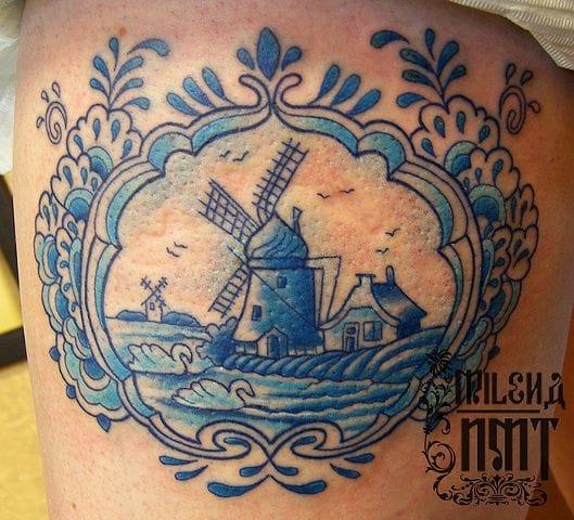 Windmill by Millena at New Moon Tattoo